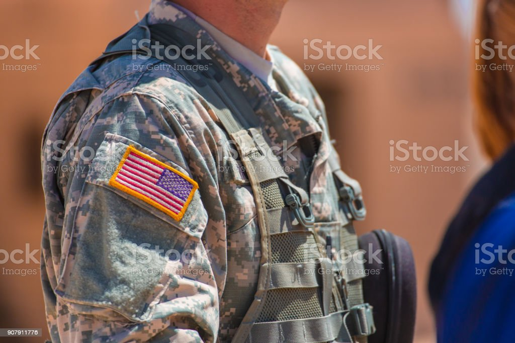 Usa Flag And Us Army Patch On Solders Uniform Stock Photo