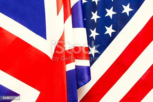 istock UK flag and USA Flag . Relations between countries . 948632098