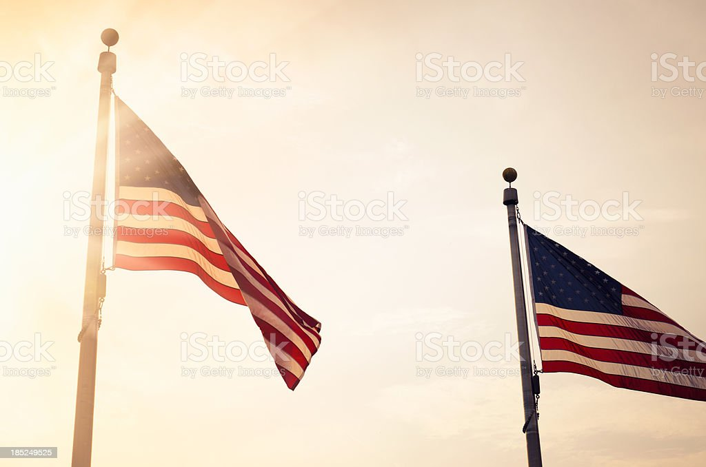 US flag around the Washington Monument stock photo