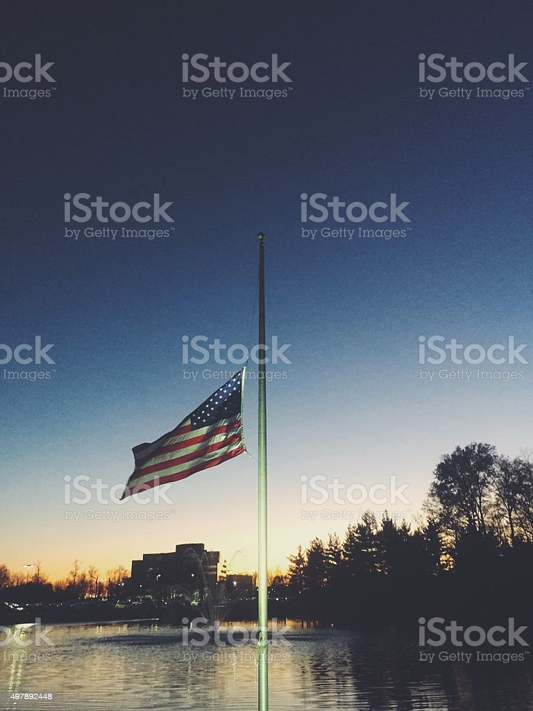 USA Flag at Half Mast stock photo