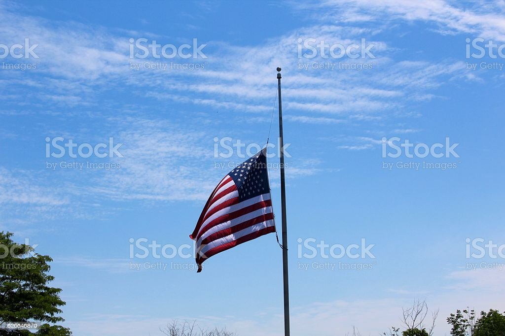 Flag at Half Mast stock photo