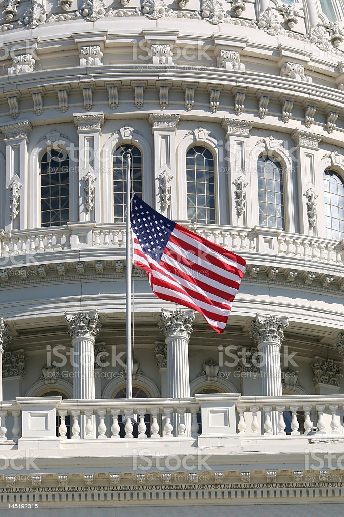 US Flag at Half-Mast stock photo
