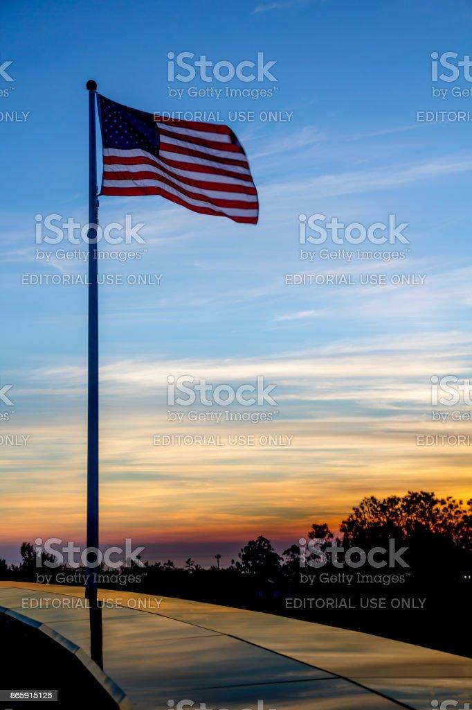 US flag at Mount Soledad National Veterans Memorial at sunset stock photo
