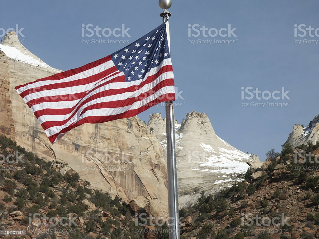 Flag at Zion National Park stock photo