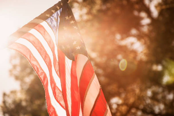 USA flag background for Memorial Day, July 4th. stock photo