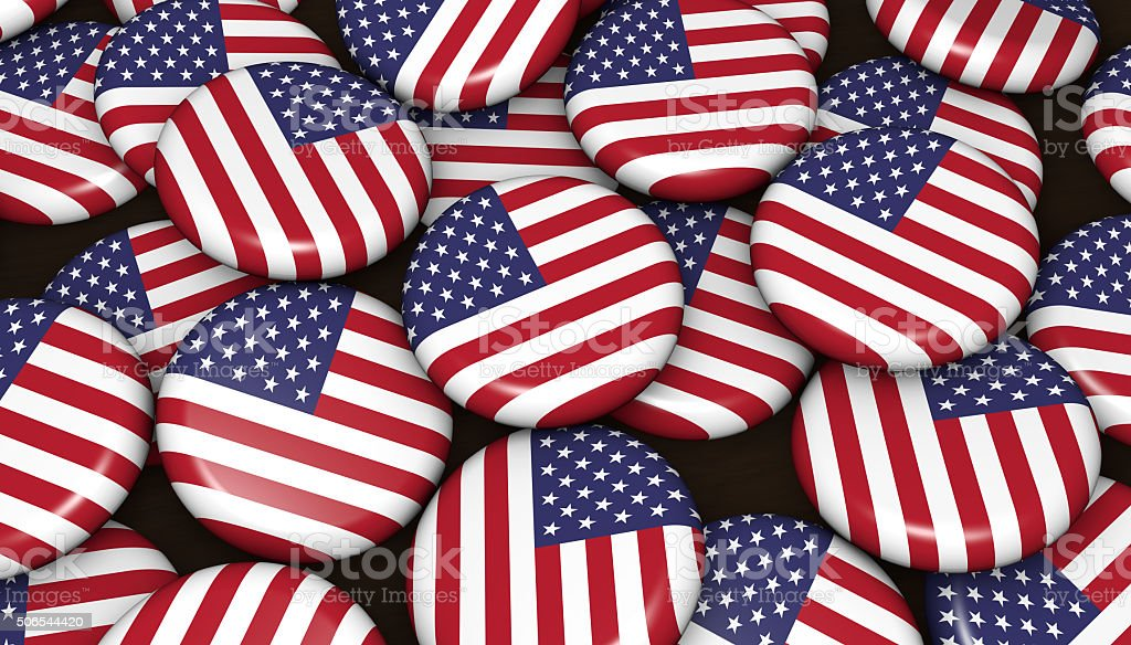 USA Flag Badges US Background stock photo