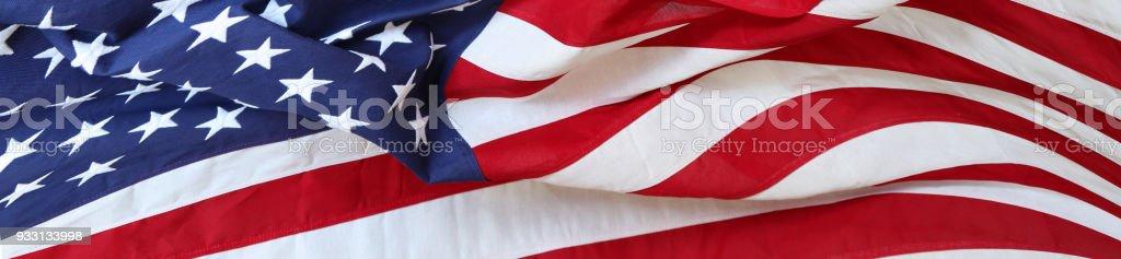 USA flag banner Closeup of rippled American flag American Flag Stock Photo