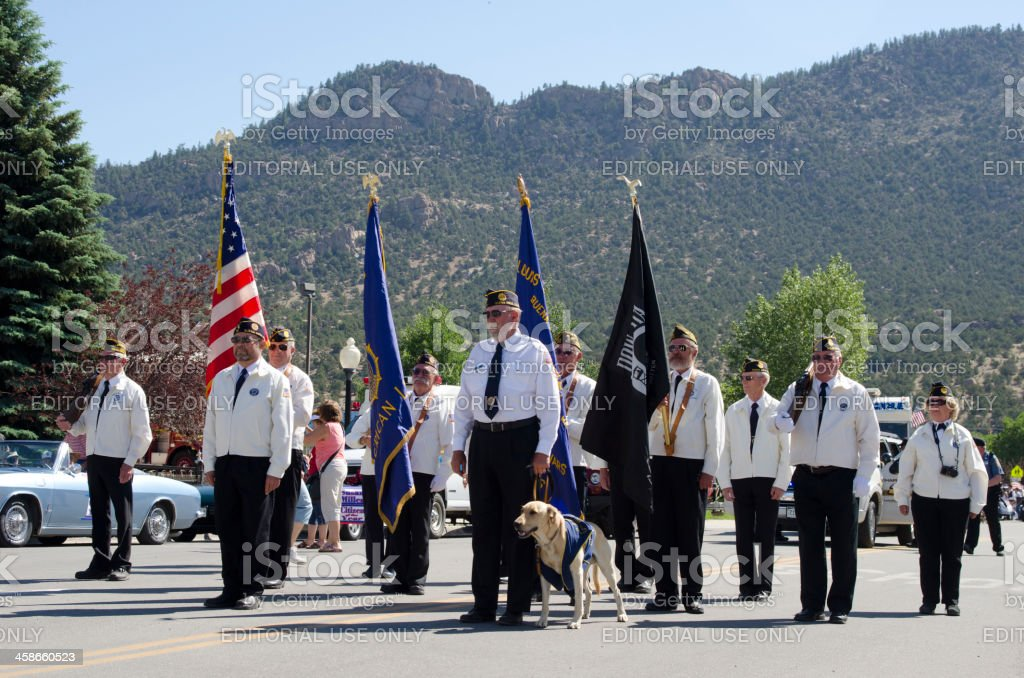 VFW Flag Bearers in 4th of July Parade stock photo