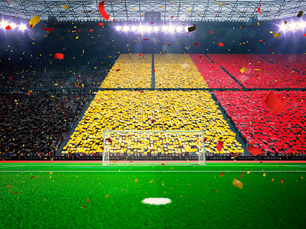bandera belga de los ventiladores. estadio arena por la noche azul - bélgica fotografías e imágenes de stock
