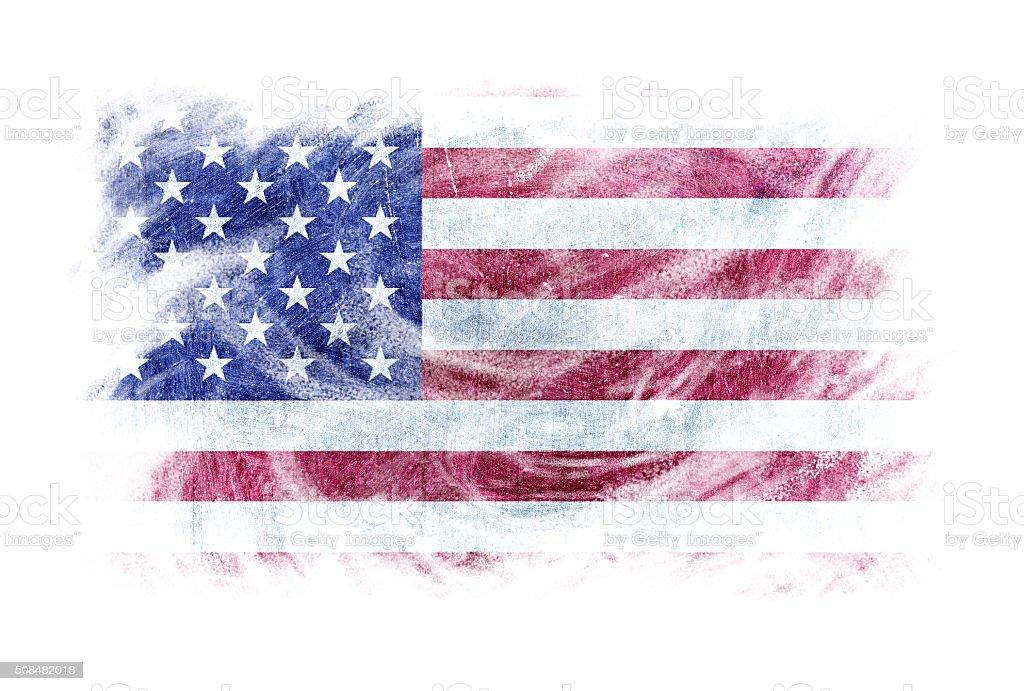 USA flag blackboard chalk erased isolated stock photo
