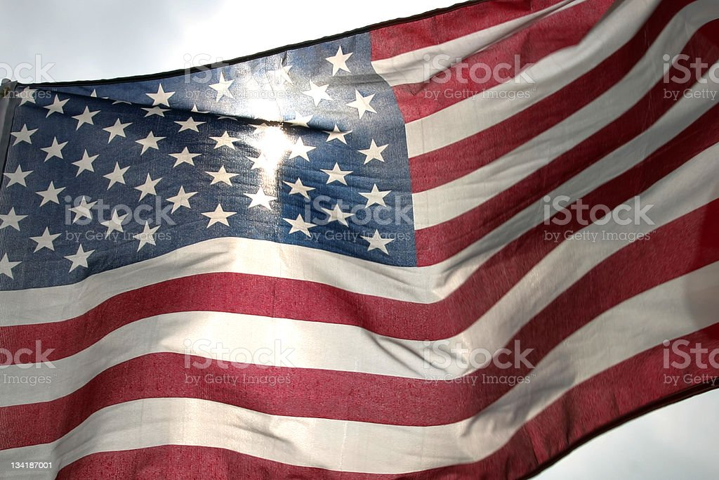 Flag blowing in the Sun royalty-free stock photo