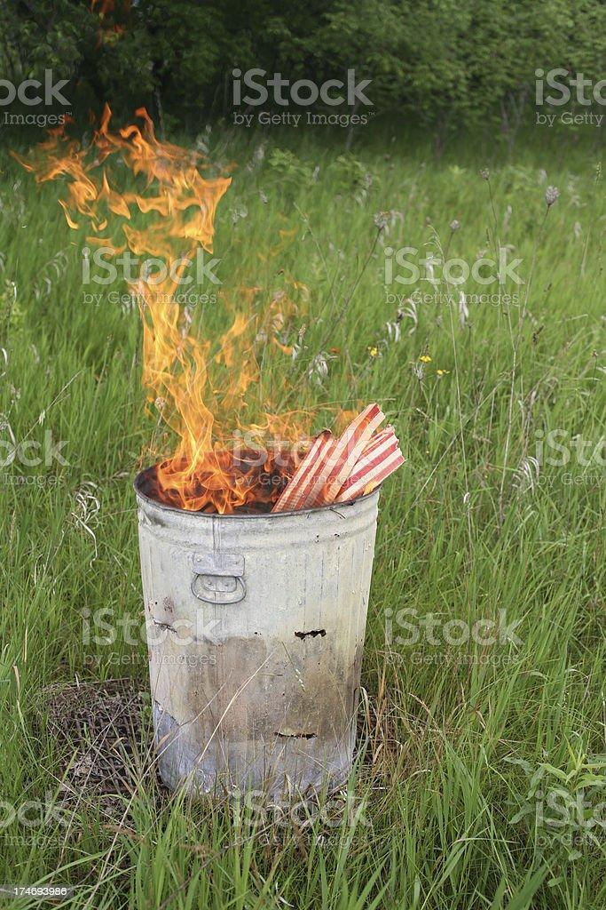 US Flag box in burn barrel stock photo