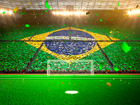 Flag Brazil of fans. Evening stadium arena