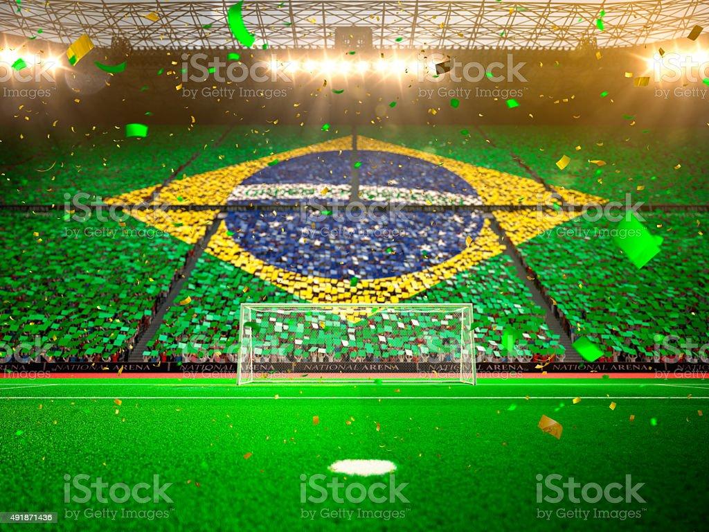 Bandeira do Brasil de fãs. Estádio arena noite - foto de acervo