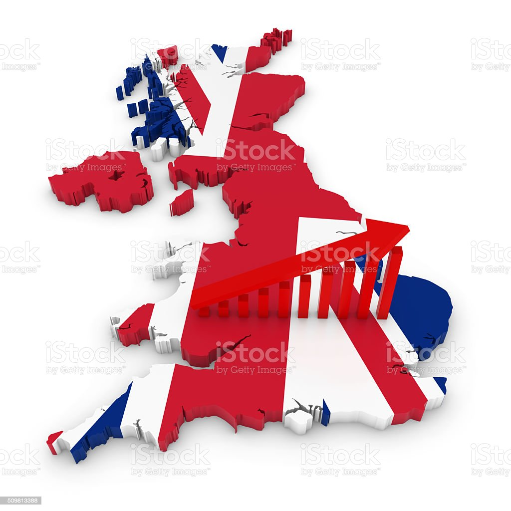 UK Flag British Economic Growth Concept Image stock photo
