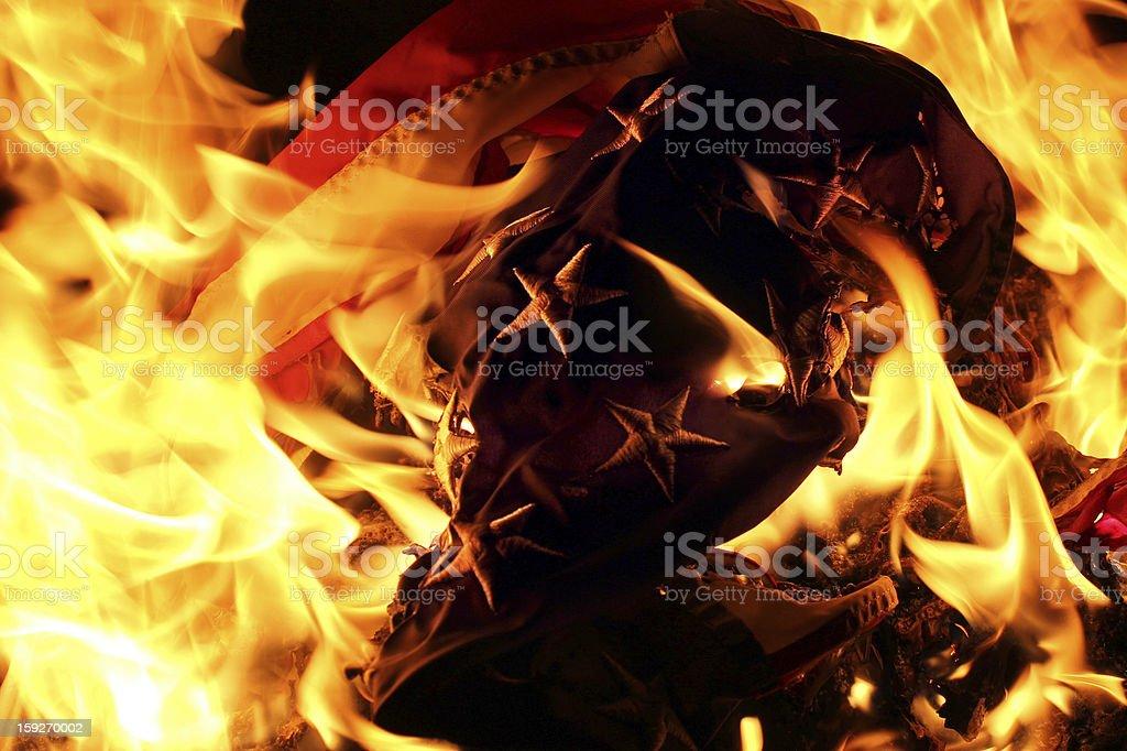 USA Flag burning in retirement ceremony stock photo