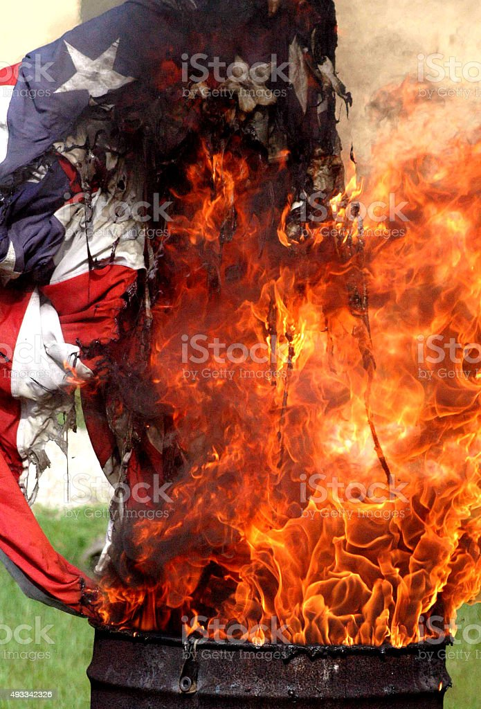 Flag Burning stock photo