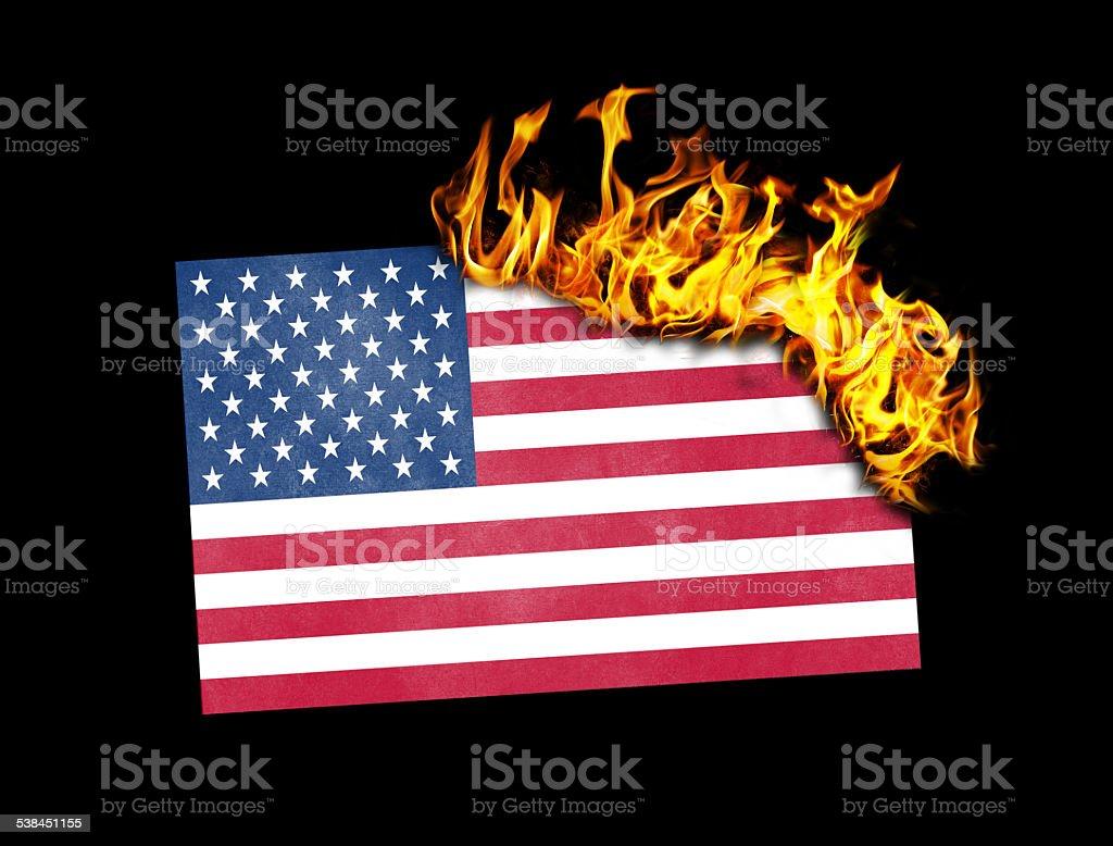 Flag burning - USA stock photo