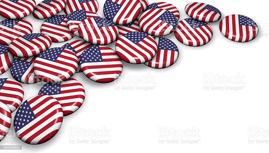 USA Flag Button Badges stock photo