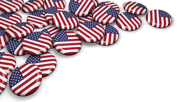 usa flag button badges - кандидат на пост президента стоковые фото и изображения