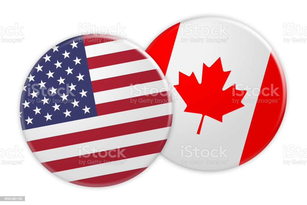 us flag button on canada flag button 3d illustration stock photo