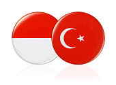 Can badge national flag on white background