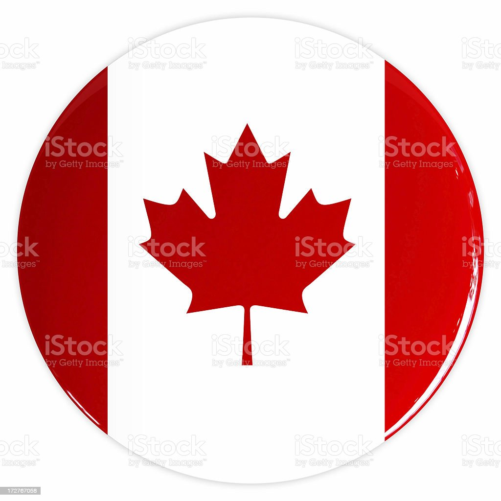 3D CANADA Flag Button royalty-free stock photo