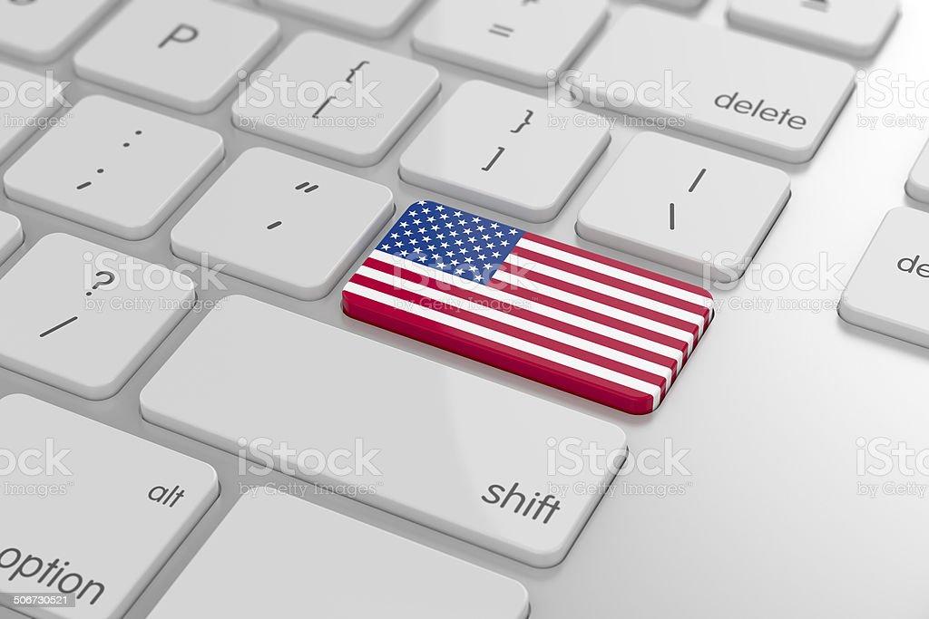 USA flag button stock photo