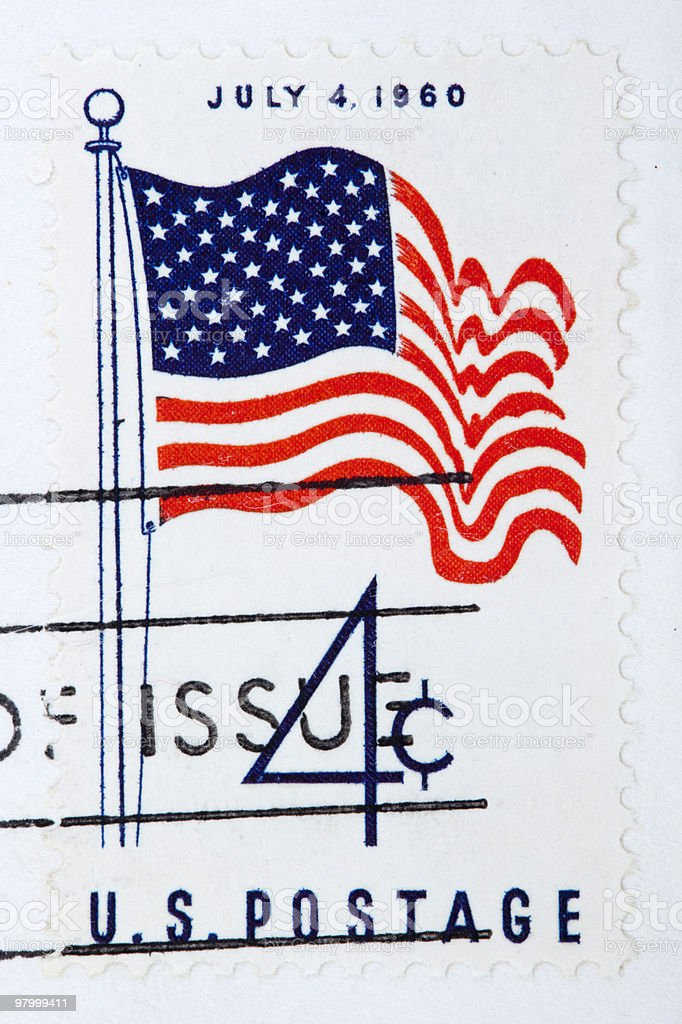 USA Flag, circa 1960 postage stamp royalty free stockfoto