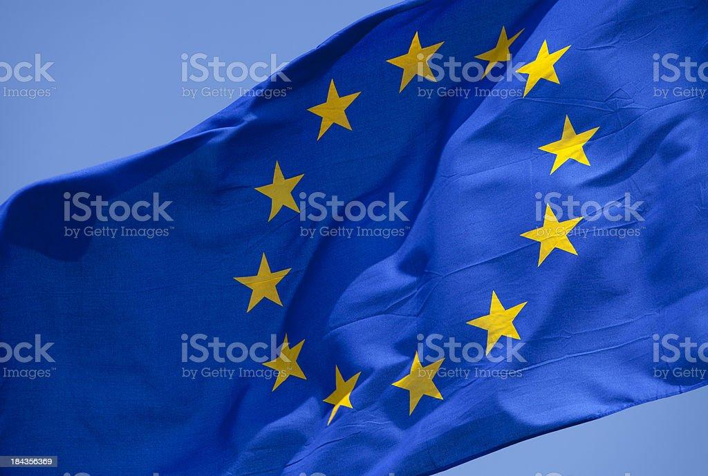 EU flag closeup royalty-free stock photo