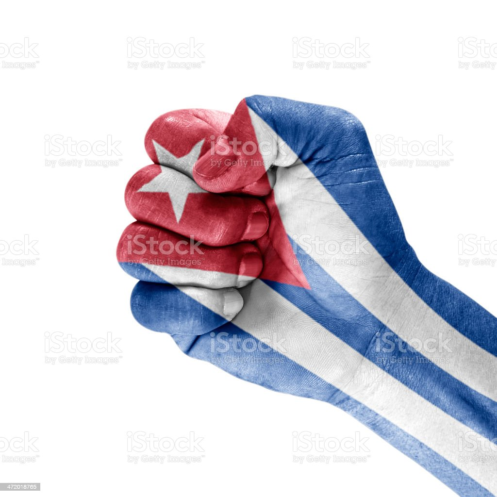 Flag Cuba On Clenched Fist Hand royalty-free stock photo