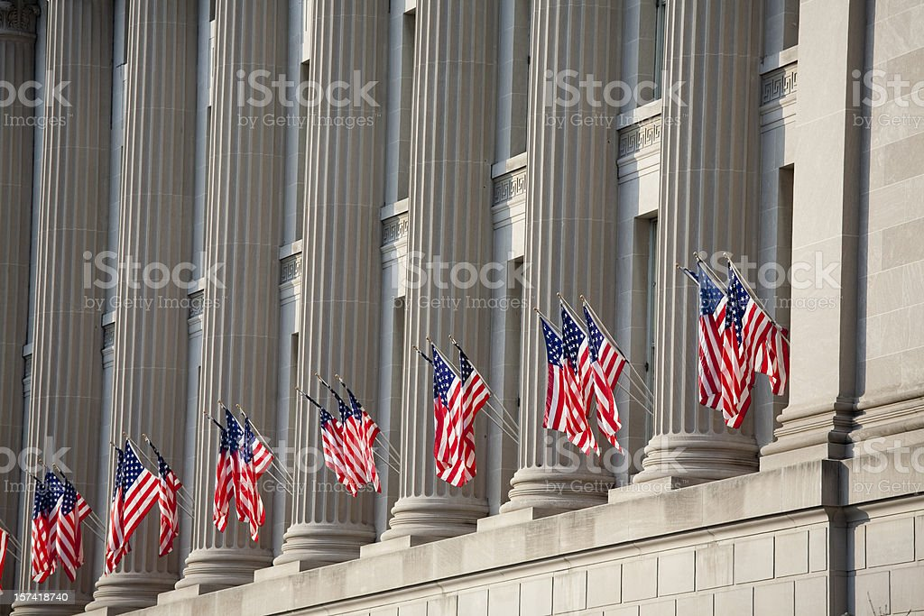 US flag decorations between columns for Obama's swearing in stock photo
