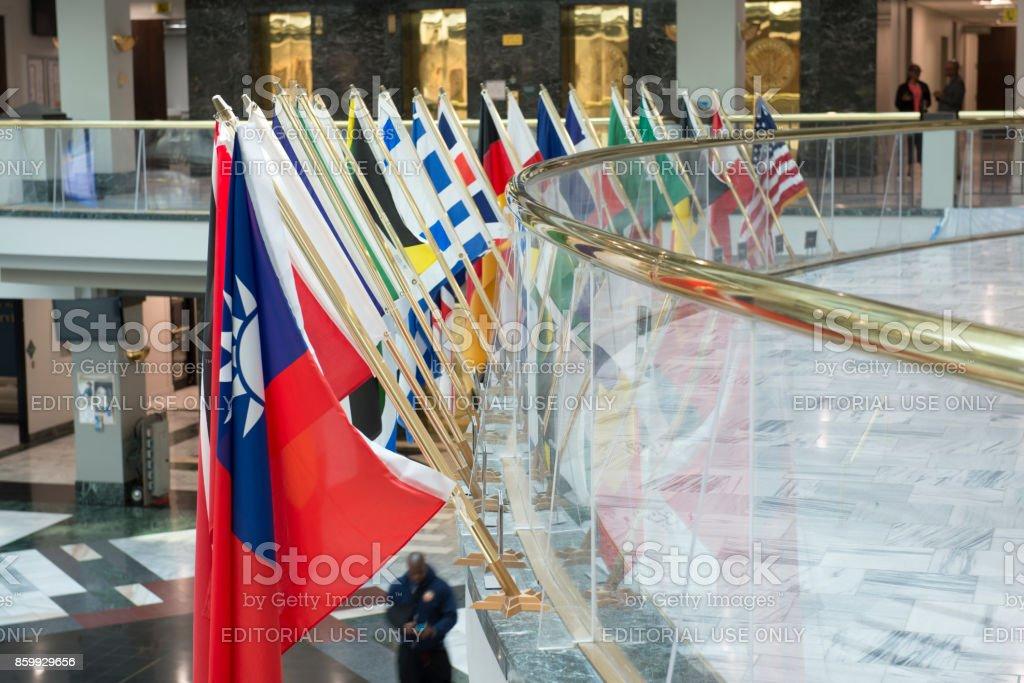 Flag display at atrium inside the Atlanta City Hall stock photo