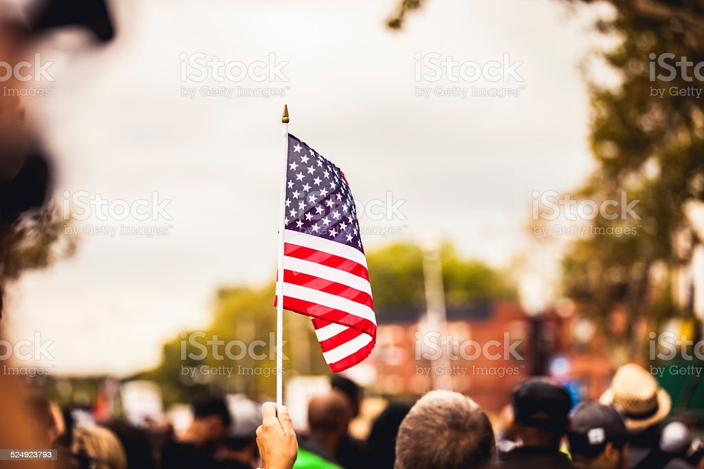 US flag during celebrations stock photo
