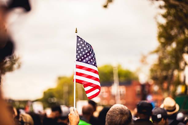 US flag during celebrations stock photo