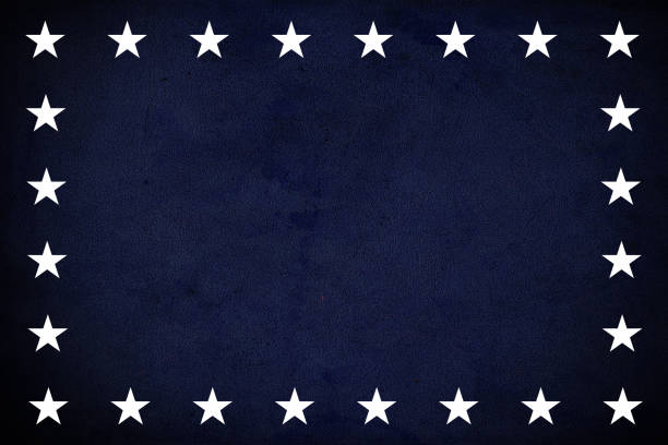 USA flag elements on dark blue grunge background stock photo