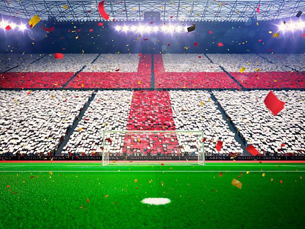 englische flagge von fans. abend stadium und arena blue - england stock-fotos und bilder