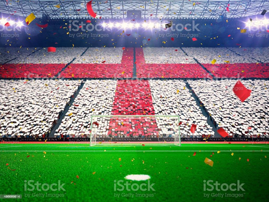 Drapeau Angleterre de fans. Stade arena Bleu soirée - Photo