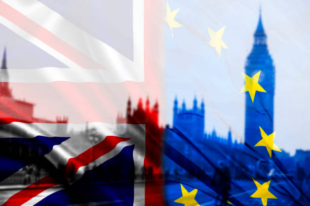 UK flag, EU flag and Big Ben stock photo