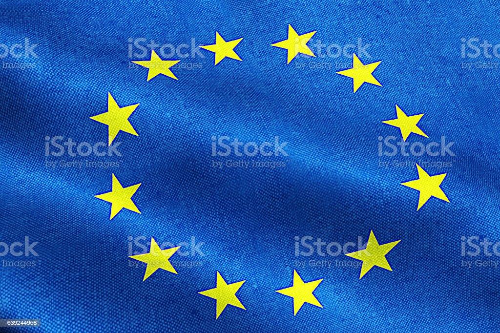 EU flag, euro flag, flag of european union waving stock photo