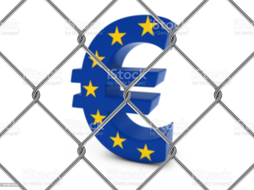 EU Flag Euro Symbol Behind Chain Link Fence stock photo