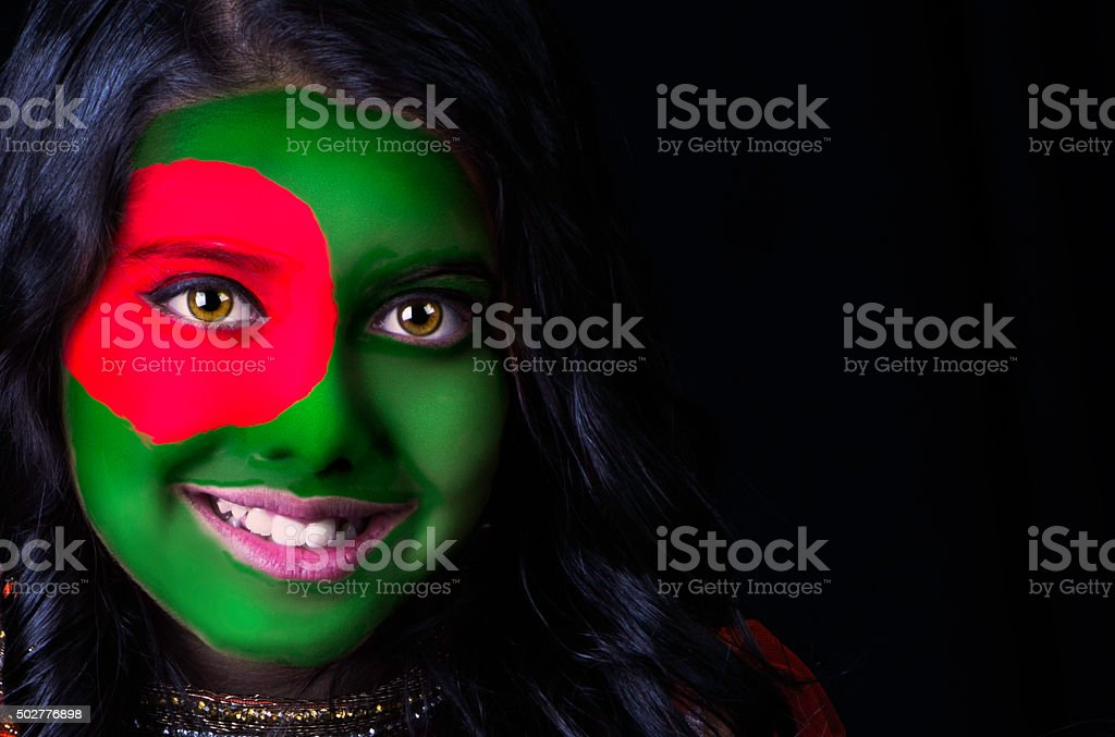 Flag face Bangladesh stock photo