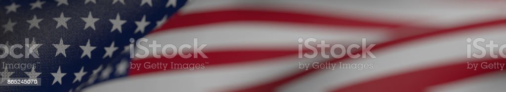 US Flag, Flag of the United States of America Panoramic Realistic 3D Illustration stock photo