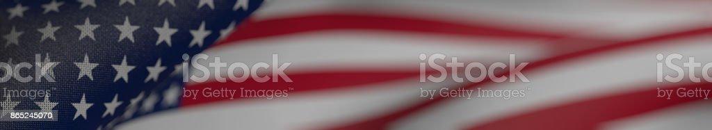 US-Flagge, Flagge der Vereinigten Staaten von Amerika Panorama realistische 3D Illustration – Foto