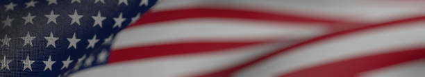 us flag, flag of the united states of america panoramic realistic 3d illustration - american flag background stock pictures, royalty-free photos & images