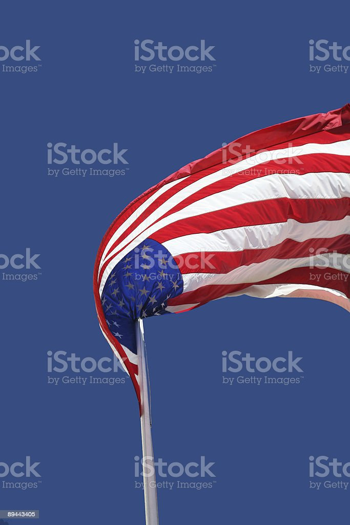 US Flag Flapping In The Wind royalty-free stock photo