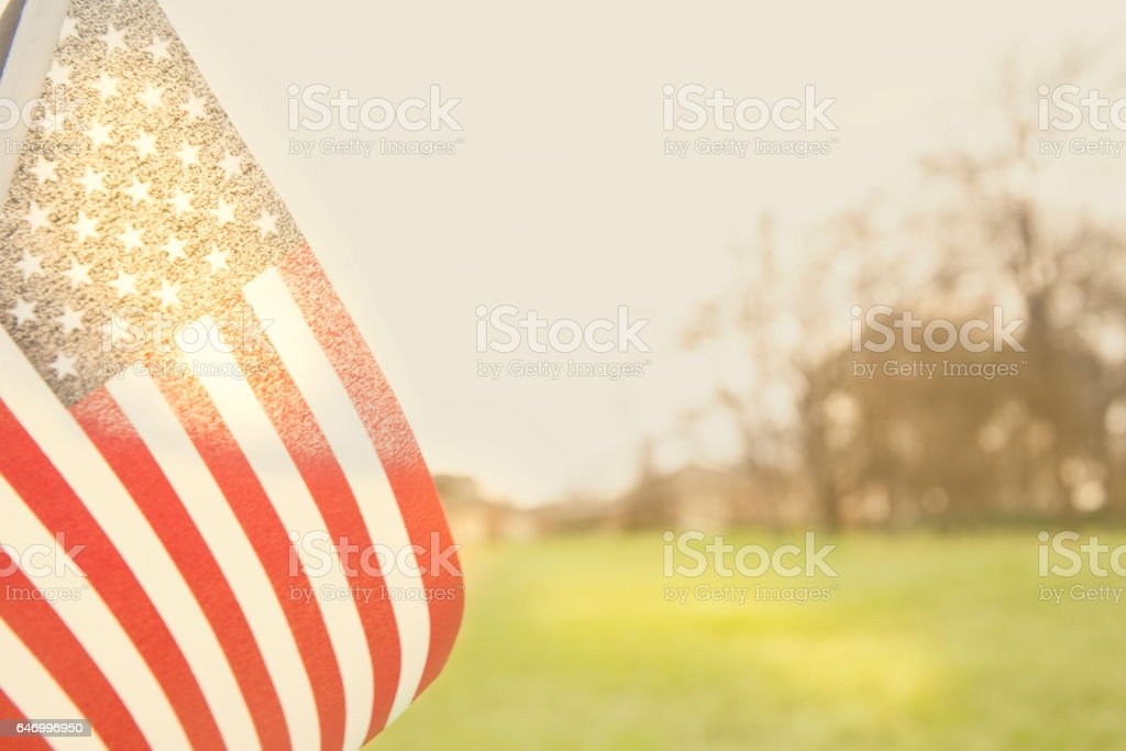 USA flag flies in afternoon sun in open meadow. - foto de stock