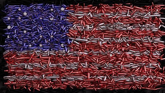 USA Flag formed out of bullets / 3d illustration / 3d rendering