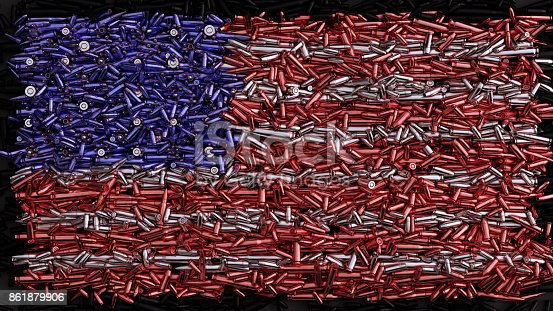 istock USA Flag formed out of bullets 861879906