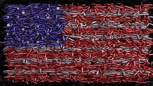 USA Flag formed out of bullets USA Flag formed out of bullets / 3d illustration / 3d rendering ammunition stock pictures, royalty-free photos & images